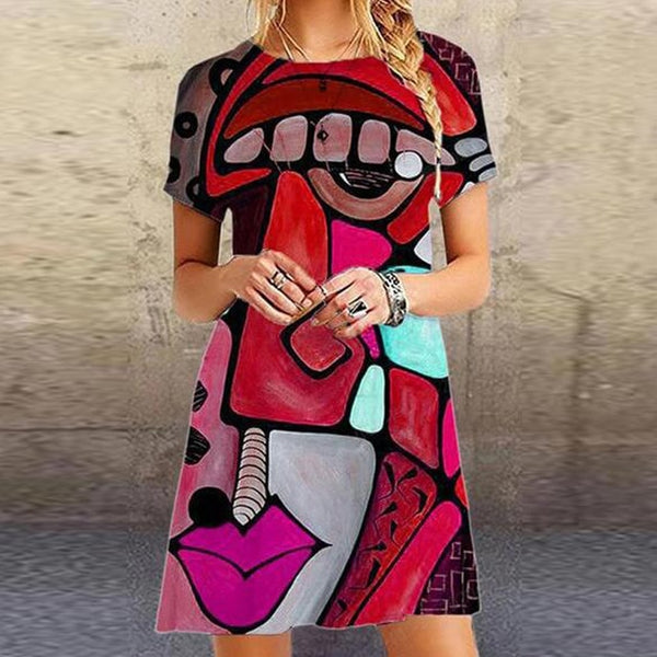 Vintage O Neck Short Sleeve Summer Beach Dress Women Elegant Pattern Print Mini Dress 2020 New Fashion Loose Lady Short Dresses