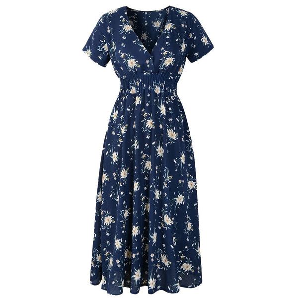Womens V Neck Holiday Floral Print Dress Ladies Summer Beach Party Dress Long Sleeve Office Shirt Dress Vestidos#T2