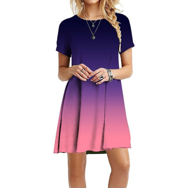Womens Summer Gradient T-Shirt Dress Short Sleeve Mini Swing Blue Purple Red Crew Neck Casual Loose Pullover Tunic Tops 2020 New
