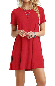 Summer Mini Women Casual Short O-Neck Plain Basic Solid Color Dress Fashion Classic Beach Loose Short-Sleeve T-Shirt Dresses