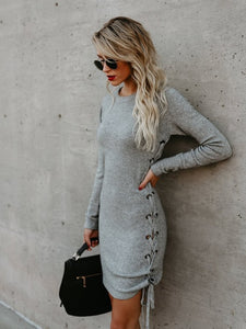 2020 Women's fashion grey melange dress one side lace up