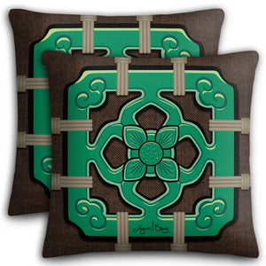 Chinese Tile Premium Stuffed Pillow