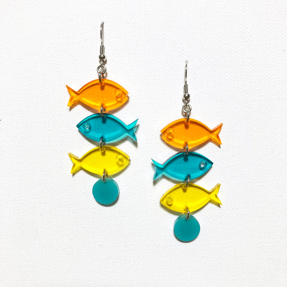 School of Fish Earrings - Orange, Turquoise, Yellow Transparent
