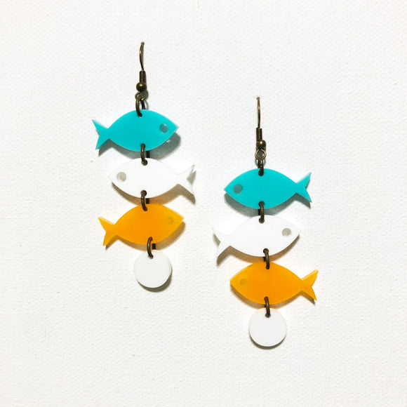 School of Fish Earrings - Palm Springs Turquoise, White, Tangerine