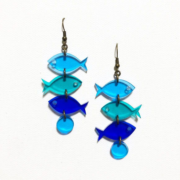School of Fish Earrings - Ocean Blues Transparent