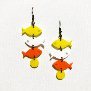 School of Fish Earrings - Yellow, White, Orange