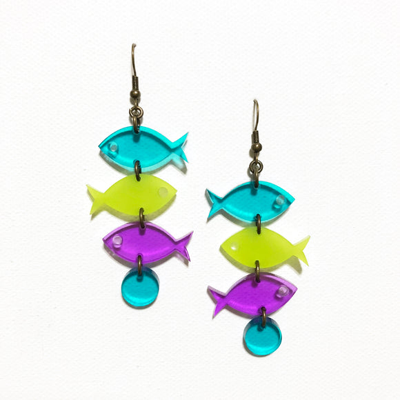 School of Fish Earrings - Turquoise, Kiwi, Purple