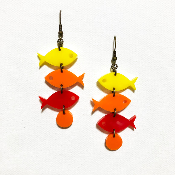 School of Fish Earrings - Flame Yellow, Orange, Red