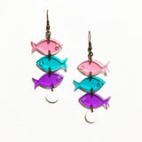 School of Fish Earrings - Pink, Turquoise, Purple Transparent