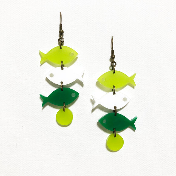 School of Fish Earrings - Kiwi, White, Green