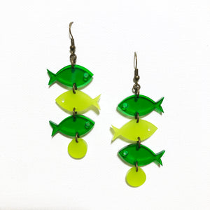 School of Fish Earrings - Greens
