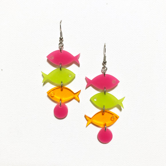 School of Fish Earrings - Mod Pink, Kiwi Green, Orange Transparent
