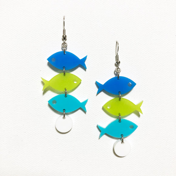 School of Fish Earrings - Blue, Kiwi Green, Aqua