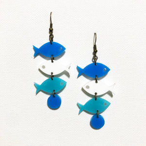 School of Fish Earrings - Blue, White, Turquoise