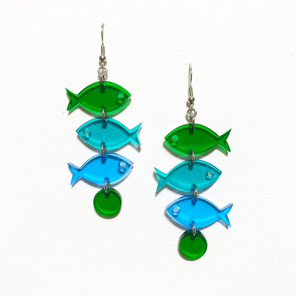 School of Fish Earrings - Green, Turquoise, Blue Transparent