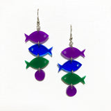 School of Fish Earrings - Purple, Blue, Green