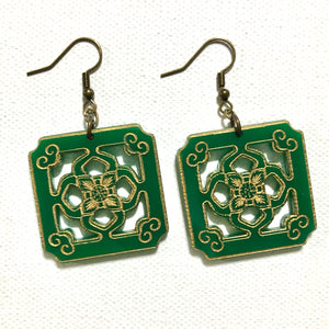 Chinese Tile Earrings - Green Acrylic