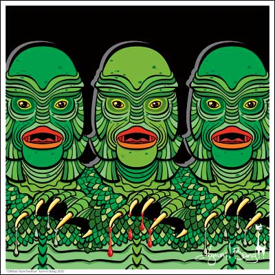 GillMan Triple Feature Giclée Art Print - Black