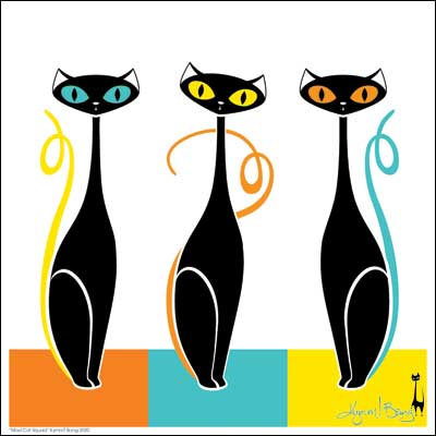 Mod Cat Trio Giclée Art Print - Orange, Turquoise, Yellow