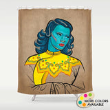 Turquoise Girl Shower Curtain