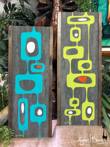 Googie Towers - Turquoise and Avocado Gravel Art Pair