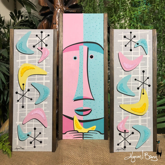 Atomic Moai - Pink and Aqua Gravel Art Triptych