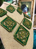 Chinese Tile, Dynasty Necklace and Earrings Set - Jade Green