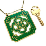 Chinese Tile Pendant Necklace - Green Acrylic