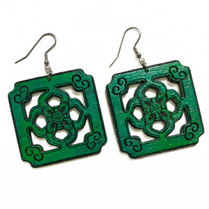Chinese Tile Earrings - Wood