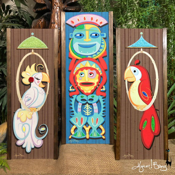 In the Tiki Room - Gravel Art Triptych
