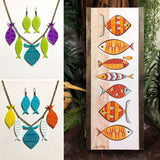 School of Fish Necklace - Turquoise, Kiwi, Purple