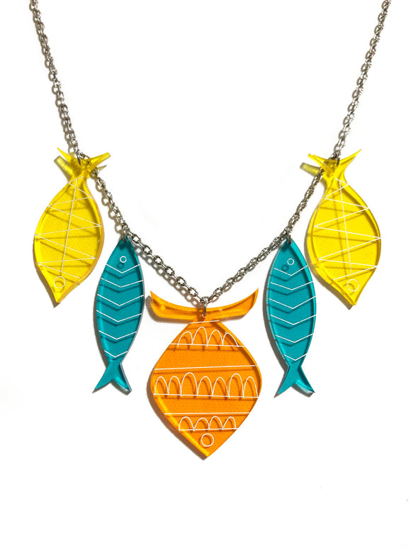 School of Fish Necklace - Palm Springs Orange, Turquoise, Yellow