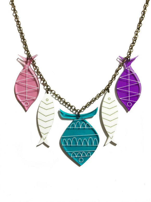 School of Fish Necklace - Turquoise, White, Pink, Purple Transparent