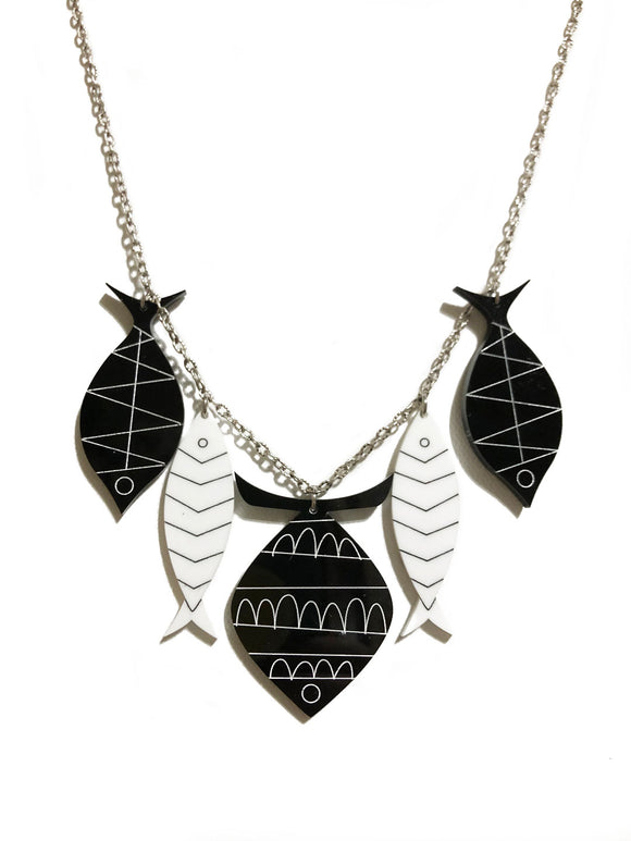 School of Fish Necklace - Black and White