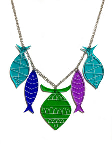 School of Fish Necklace - Green, Blue, Purple, Turquoise
