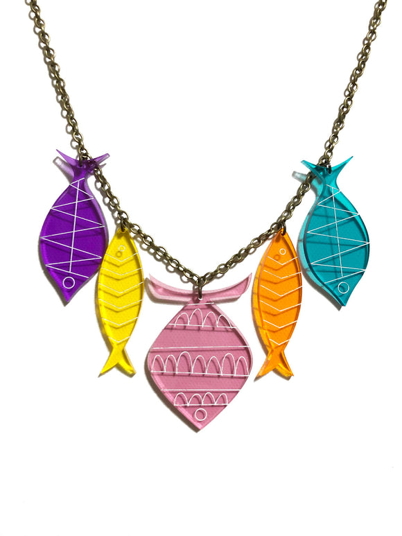 School of Fish Necklace - Pink, Yellow, Orange, Purple, Turquoise
