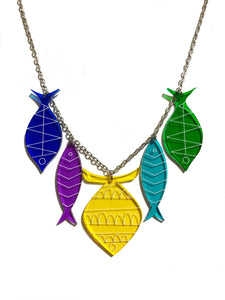 School of Fish Necklace - Yellow, Purple, Turquoise, Blue, Green