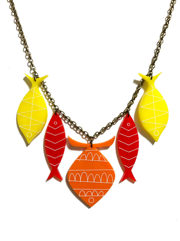 School of Fish Necklace - Flame Orange, Red, Yellow