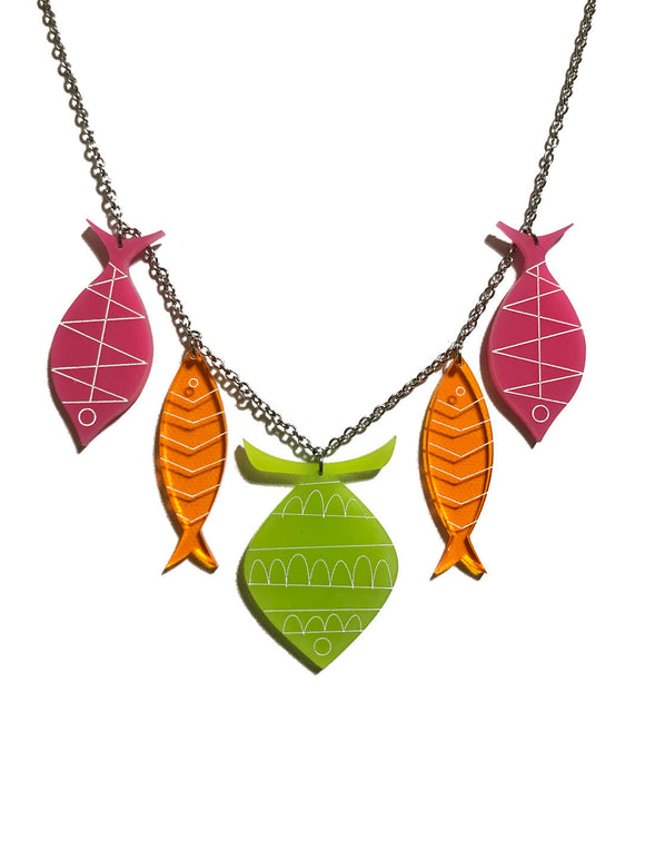 School of Fish Necklace - Mod Kiwi Green, Orange, Pink