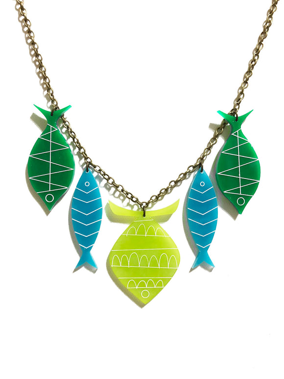 School of Fish Necklace - Mod Kiwi, Turquoise, Green