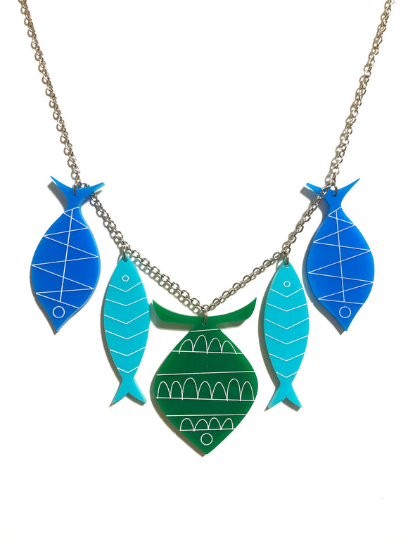 School of Fish Necklace - Green, Aqua, Blue
