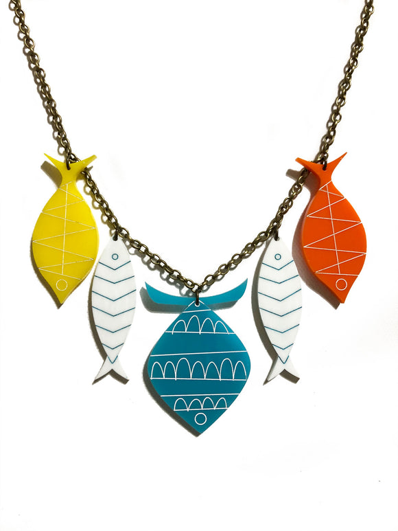 School of Fish Necklace - Mid Century Turquoise, White, Yellow, Orange
