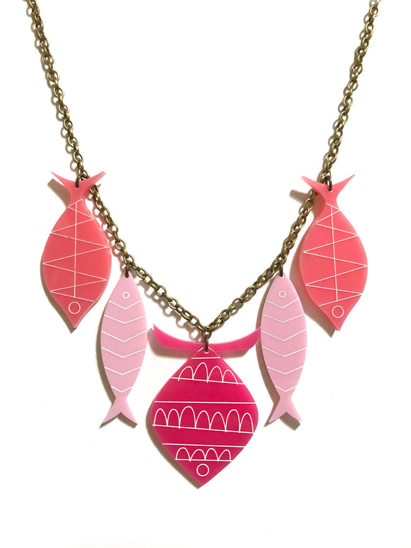 School of Fish Necklace - Pinks
