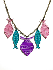 School of Fish Necklace - Purple, Turquoise, Pink Transparent