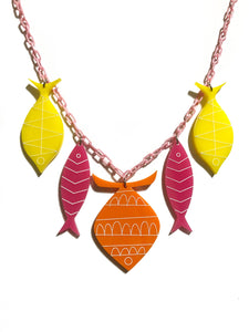 School of Fish Necklace - Orange, Pink, Yellow