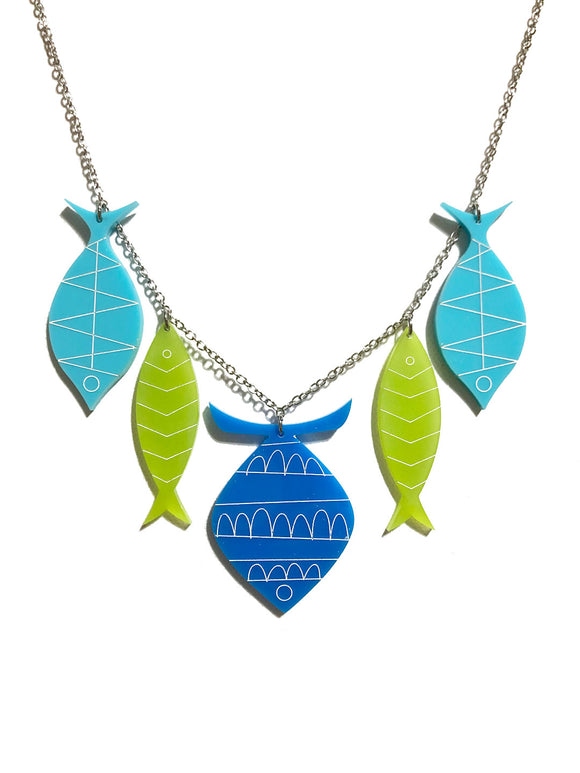 School of Fish Necklace - Blue, Kiwi, Aqua