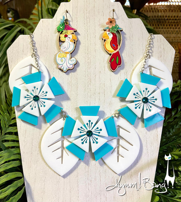 Aloha Blossom Necklace - Aqua and White