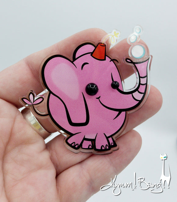 Bubbles the Pinky Drinky Elephant - Brooch or Necklace
