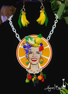 Carmen Miranda - Orange Halo Necklace and Earrings Set