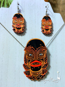 Creature #4 Large Orange Pendant and Earrings